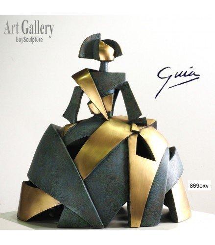Escultura Menina Aire y Metal en Bronce Oxido Verde