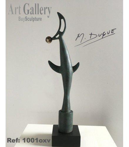 Escultura Pájaro y Luna en Bronce oxido verde | Martín Duque