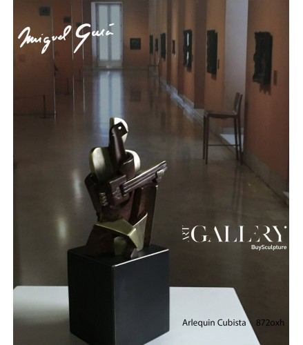 Escultura Arlequin cubista en Bronce Oxidado