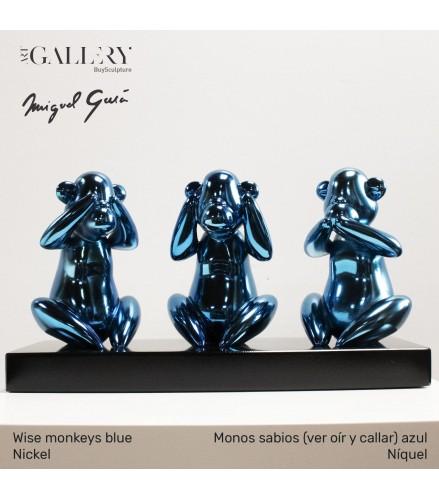 Monos sabios (ver oír y callar) azul