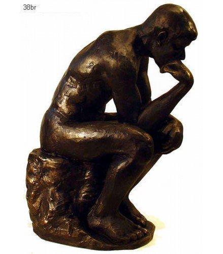 Escultura El Pensador en Bronce Oscuro