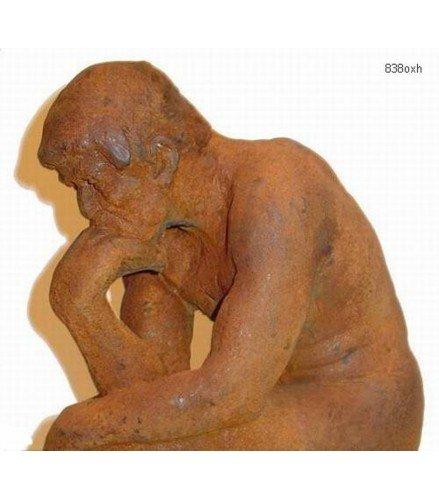 Escultura Pensador Grande en Bronce Oxidado