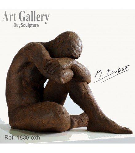 Escultura Desnudo Masculino en Bronce Oxidado