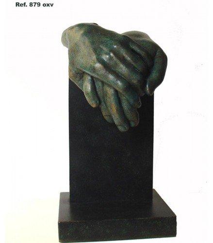 Escultura Sientes lo mismo que yo en Bronce Oxido Verde