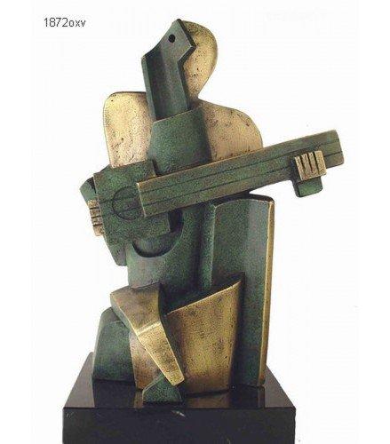 Escultura Arlequin cubista grande en Bronce Oxido Verde