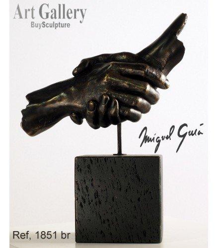 Escultura amistad en bronce
